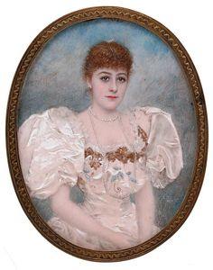 Escuela española, 1895 - Damisela. Retrato en miniatura al gouache sobre marfil. Firmado con iniciales y fechado 'C.T/1895'. Marco en plata dorada
