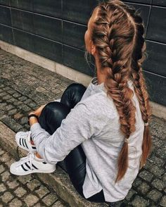 || french braid into fishtail || outfit: gray sweatshirt, black leather pants, black and white adidas shoes ||