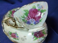 JAPAN TEA CUP AND SAUCER HP PINK ROSE & FLORAL BOUQUET FAB. HANDLE LUSH GOLD #MARKEDMADEINJAPAN