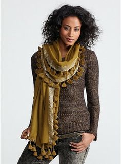 Wrap with Tassels in Tasseled Shimmer Wool...so cute
