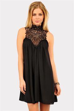 Venetian Crochet Dress - Black