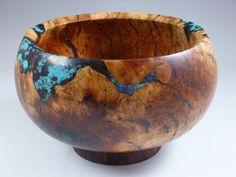 Wooden Bowl - Manzanita burl wood Bowl with Turquoise, Lapis and Malachite stone Inlay