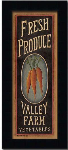 Carrots Fresh Produce Country Kitchen Sign Art Print Framed