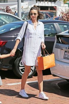 Miranda Kerr Shirtdress - Miranda Kerr looked cool and stylish in a striped blue shirtdress by Rails while out in Malibu.