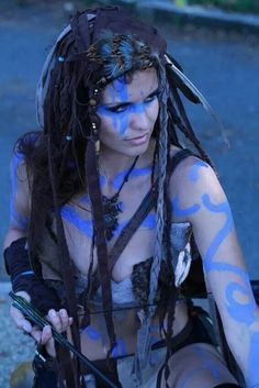 """A Pict woman.....the warriors of this tribe painted their bodies with blue designs,for this reason the Romans called them Picts, """"the painted people""""."""