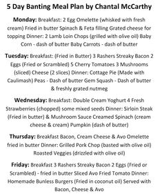 For The Love Of Banting: 5 Day Banting Meal Plan - by Chantal McCarthy