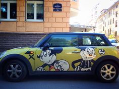 MINI mickey mouse Mini Coopers, Car Painting, Big Love, Minis, Vw, Mickey Mouse, Bike, Cars, Vehicles