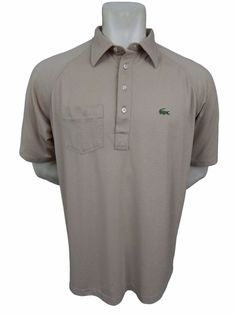Lacoste Pocket Polo Shirt Size XL Short Sleeve Beige IZOD #Lacoste #PoloRugby