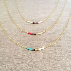 Minimalist Gold Delicate Short Necklace with Tiny Beads // Thin Layering…