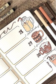 Coffee Themed Bullet Journal Spreads For 2020 - Crazy Laura - - Looking to a new theme idea to try out this month? Check out these awesome coffee bullet journal spreads for inspiration to make your layouts perfect! Bullet Journal Spreads, Bullet Journal Cover Ideas, Bullet Journal Lettering Ideas, Bullet Journal Notebook, Bullet Journal Aesthetic, Bullet Journal School, Bullet Journal Inspo, Bullet Journal Ideas Pages, Bullet Journal October Theme