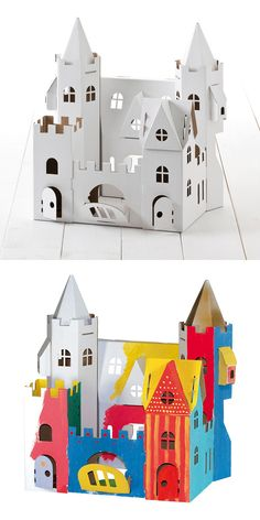 Amazing cardboard palace castle // Encourage creativity while leaving plenty of room for the imagination with Calafant cardboard toys. This Palace set is ready to be decorated to your liking! Want! #productdesign #toydesign