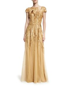 ZUHAIR MURAD EMBROIDERED TULLE CAP-SLEEVE FLARED GOWN, NEUTRAL PATTERN. #zuhairmurad #cloth #