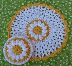 Daisy Dishcloth and Scrubbie Set Crochet PATTERN