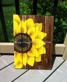 Sunflower Home Decor Sunflower Art Sunflower Wood Sign Sunflower Housewarming Sunflower Room, Sunflower Crafts, Sunflower Kitchen Decor, Sunflower Bathroom, Sunflower Wall Decor, Arte Pallet, Pallet Art, Diy Casa, Donia
