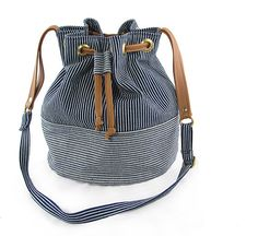 sale the BUCKET BAG railroad denim and vegan leather by besamples