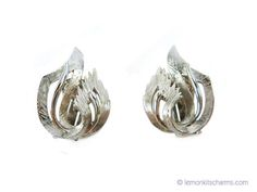 Vintage Feather Curl Earrings Jewelry 1950s Mid-century