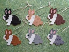 Dutch Bunny Rabbit Perler Bead Ornament Decorations / Gift Tag Set of 6