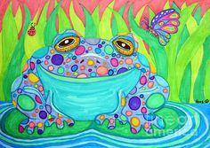 A colorful rainbow spotted frog