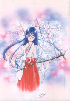 "Rei Hino (Sailor Mars) in shrine maiden outfit from ""Sailor Moon"" series by manga artist Naoko Takeuchi."