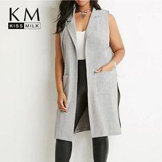 Kissmilk Plus Size New Fashion Women Side Split Fashion Turn-down Collar Sleeveless Big Size Coat 3XL 4XL 5XL 6XL