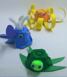 These egg carton ocean animals are the perfect summer preschool craft! They can … These egg carton ocean animals are the perfect summer preschool craft! They can be made with household items, and your little ones will love getting creative! Toddler Crafts, Crafts For Kids, Arts And Crafts, Ocean Kids Crafts, Children Crafts, Rainbow Crafts, Rainbow Loom, Craft Activities, Preschool Crafts