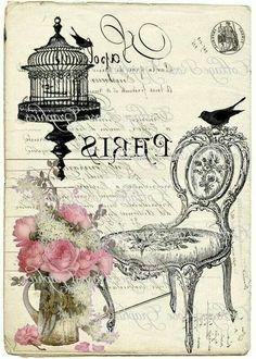 Shabby chic art print printable, pink roses and birdcage, chair. Decoupage Vintage, Decoupage Paper, Images Vintage, Vintage Pictures, Wax Paper Transfers, Image Transfers, Paris Wallpaper, Foto Transfer, Vintage Paris