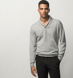 SUEDE-TRIMMED SWEATER WITH A SHAWL COLLAR