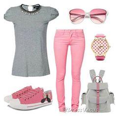 Look rosa y gris