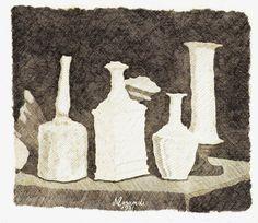 Morandi Giorgio Still Life with White Objects on a Dark Background, 1931 (via Atlante dell'arte italiana)
