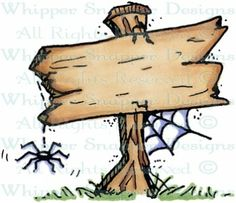 Creepy Signpost - Halloween Images - Halloween - Rubber Stamps - Shop