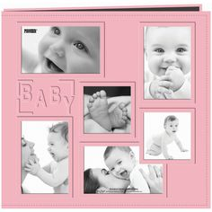 Pioneer Collage Frame 12-Inch x 12-Inch Sewn Embossed Cover Baby Postbound Album, Pink