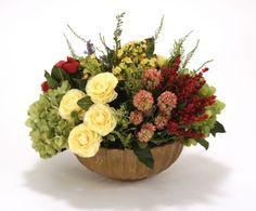 4125C# - Fall-Toned Gold, Green, Red, Lavender in Summerdale Wanda Bowl - Distinctive Designs