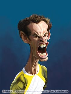 "caricature of Andy Murray, published in the book ""Légendes du Tennis"" (Glénat - Vent d'Ouest, 2013)"