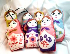 Ornament or Worry Doll  Stuffed Floral by KimsCraftyApple on Etsy, $31,65