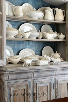 Home Interior White .Home Interior White Cocina Shabby Chic, Dish Display, White Dishes, White Pitchers, Savvy Southern Style, French Country Decorating, Glass Collection, Home Interior, Interior Livingroom