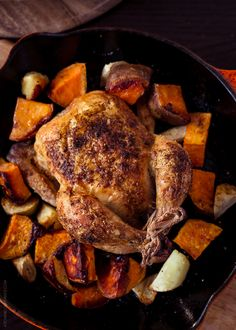 Spice Roasted Cornish Hens and Sweet Potatoes