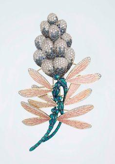 Dragonflies and hiacynth flower brooch by Ilgiz F.