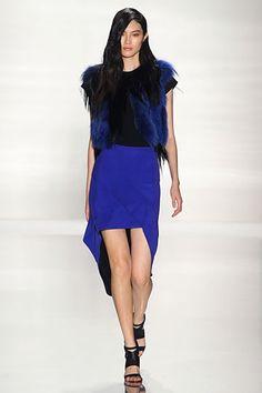 Blue high-low skirt & fur. J. Mendel Spring 2012 RTW