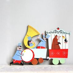 Large Vintage Circus Puzzle Piece  Party Decor Wall by ethanollie, $15.00