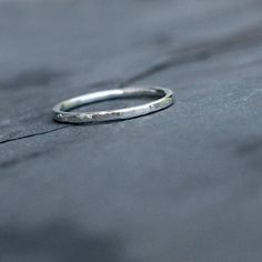 Sterling Silver Stacking Ring Band Hammered Shiny by KiraFerrer