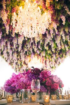 Hanging Wedding Decorations - Belle The Magazine Hanging Wedding Decorations, Reception Decorations, Flower Decorations, Flower Centerpieces, Purple Wedding, Wedding Flowers, Dream Wedding, Wedding Day, Wedding Blog