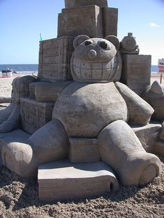 Teddy bear Sand sculpture #Sand #SandArt #Summer #SandCastle #Beach