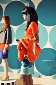 orange and teal and polka dots-- Kate Spade F/W 2012