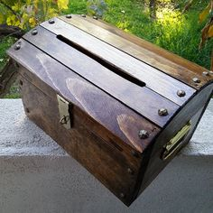 Small Wooden Wedding Treasure Chest Card Box with Card Slot Stained Dark Walnut