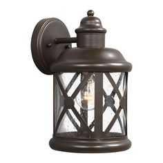 Sea Gull Lighting 8621401-71 Lakeview 1 Light 12 inch Antique Bronze Outdoor Wall Sconce in Clear Seeded Glass