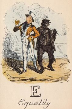 """""""E: Equality"""" from """"A Comic Alphabet"""" by George Cruikshank (1836)"""