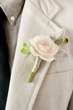 Groom and groomsmen boutonniere Boutonnieres, Pink Boutonniere, Succulent Boutonniere, Groomsmen Boutonniere, Metallic Wedding Colors, Floral Wedding, Wedding Bouquets, Prom Flowers, Wedding Flowers