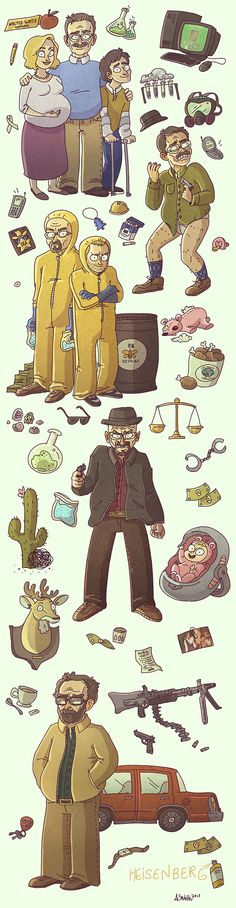Breaking Bad - The changing personality of Walter White depicted in this awesome artwork by Alyssa Smith Movies And Series, Best Series, Tv Series, Bad Fan Art, Bad Art, Jesse Pinkman, Walter White, Breaking Bad Series, Breaking Bad Funny