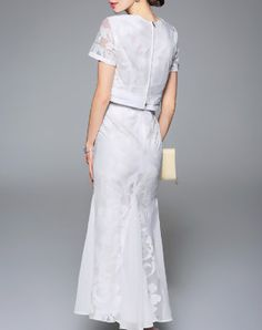 White Two Piece Embroidered Mesh Mermaid Maxi Dress