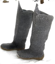 Hand made felted boots from natural wool by Jurgafelt on Etsy, $180.00